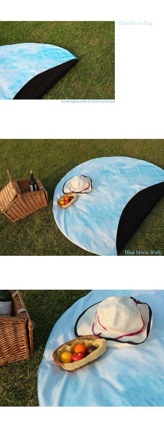 Full Moon picnic-mat BLUE MOON WALTZ interior rug by i3Lab on Etsy