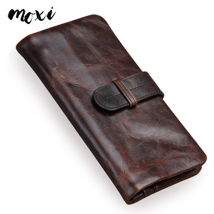 MOXI Male Wallet Oil Wax Genuine Leather Men Purse Long Coffee Clutch Phone Bag Men Hasp Coin Pocket Soft Leather Money Bag