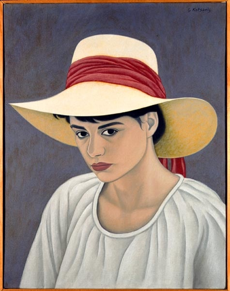 """""""Girl with a Hat"""" in 1987 by George Kotsonis. Acrylic painting"""
