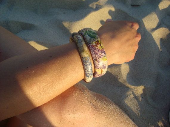Wooden Decoupage Bracelet Purple braceletFloral Bangle by Valelval