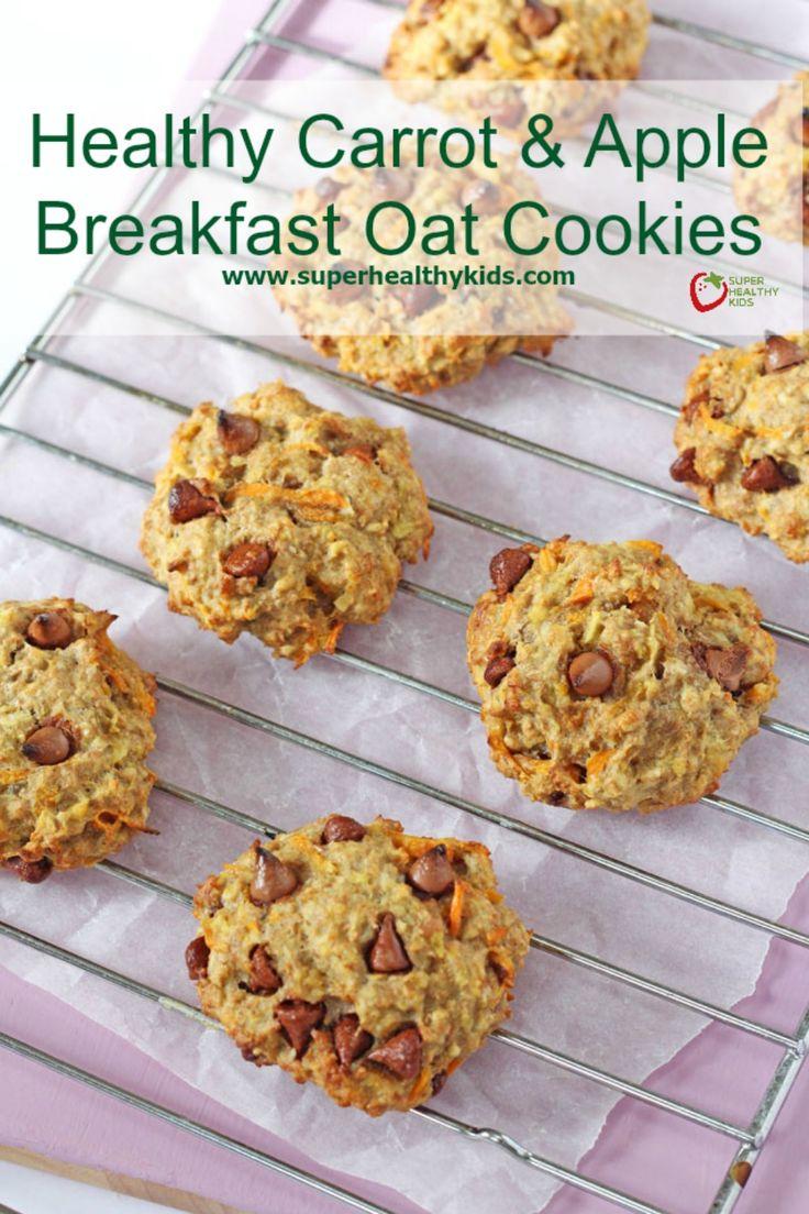 Healthy Carrot & Apple Breakfast Oat Cookies - Healthy oat breakfast cookies made with carrots, apples and banana.  http://www.superhealthykids.com/healthy-carrot-apple-breakfast-oat-cookies/