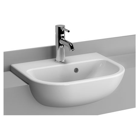 Vitra - S20 45cm Short Projection Semi-Recessed Basin - 1 Tap Hole