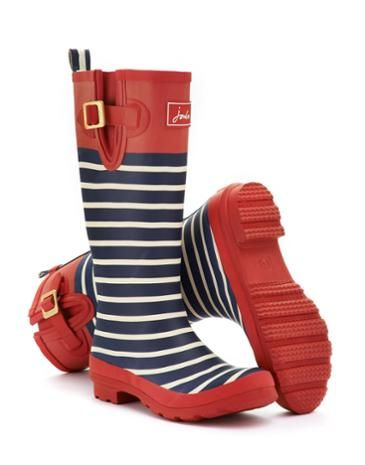 Joules Womens Welly Print, Red Stripe.                     From striking stripes and detailed florals to scenes that sing of our country heritage. No matter where you are from farmyards to festivals, our new printed wellies will make sure you stand out from the crowd.