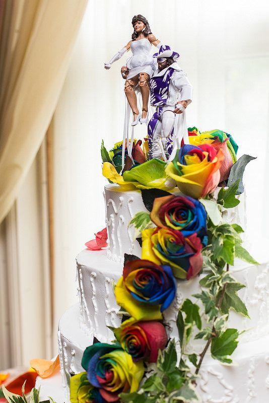 rainbow rose wedding cake wwe wrestling wedding cake topper