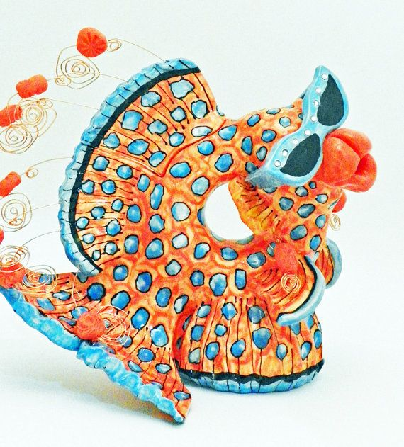 Ceramic Teapot Fish Coral Spotted Whimsical by JudyBFreeman, $250.00