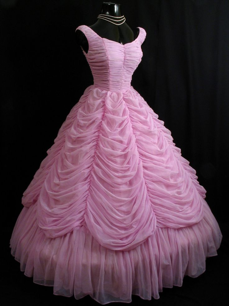 Vintage 1950 39 s 50s strapless orchid pink lavender ruched for Circle skirt wedding dress