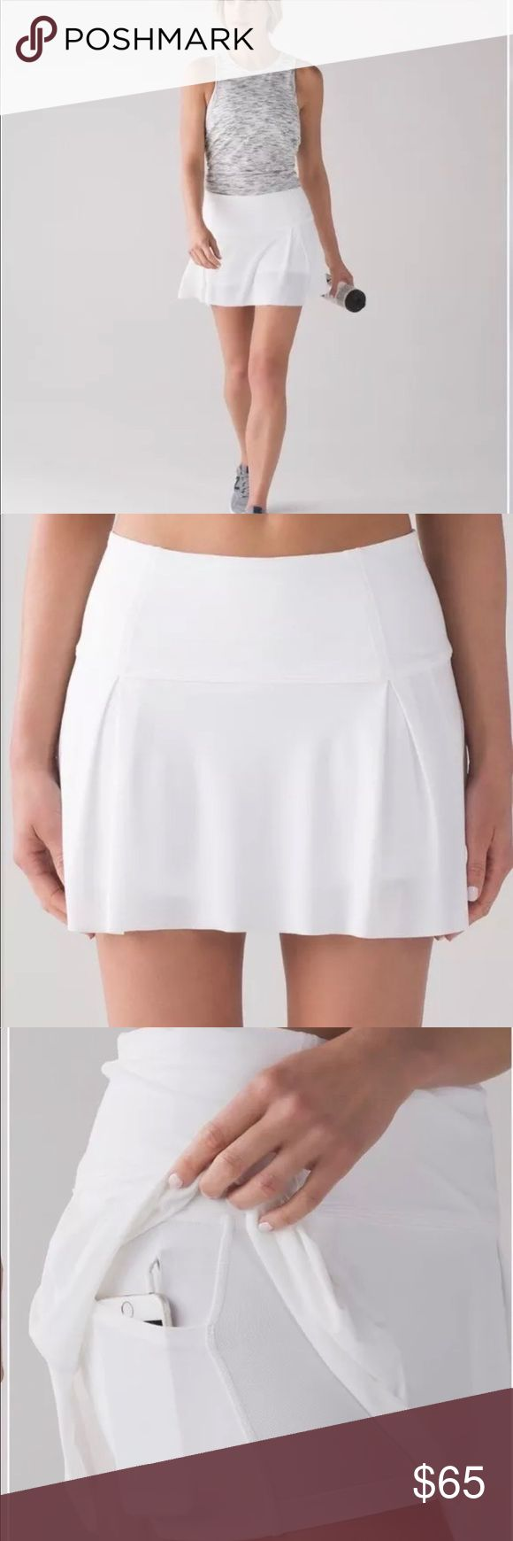 NWT! Lululemon -Lost In Pace Skirt- White 6 Tennis, Golf, Running & Sports. This breezy skirt was designed with stretchy built-in short so you can go from the trails to the tennis court without slowing down. Hugged Sensation; Medium rise. Designed to feel light and keep you covered, Luxtreme fabric is sweat-wicking with four-way stretch. LYCRA® fibre adds great shape retention. Side Pockets in shorts. Cord exit for headphones lululemon athletica Shorts Skorts