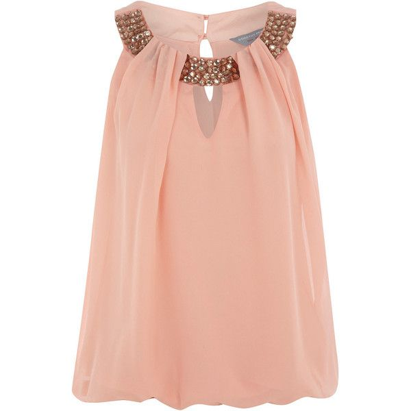 Petite peach embellished top via Polyvore