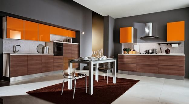 modern kitchens with orange cabinets