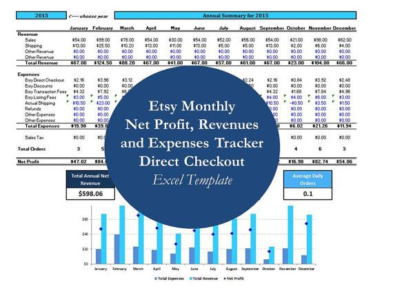 Bookkeeping Template, Etsy Spreadsheets, Monthly Business Expense