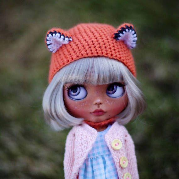 háčkování Fox klobouk pro vlastní Blythe panenky, Blythe oblečení, Blythe doplňky přilba vánoční dárek OOAK