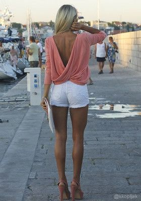 The shorts = NO. Pink draped top + skinny white jeans. Ok after Labor Day, or a no-no? Draped V-back Top - Pink @LookBookStore