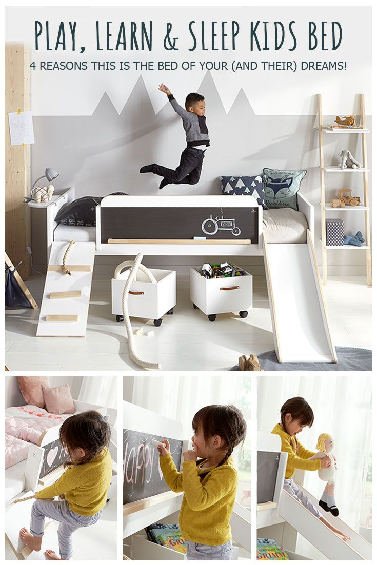 This Limited Edition Play, Learn & Sleep Bed is perfect for transitioning a toddler to a full size bed, with a rope ladder, blackboard and slide that little ones will love. When they're older, simply remove the ladder and slide to leave a cool Scandi-style bed suitable for a teenager. This unique kids bed will quite literally last them a lifetime! Check out our blog post for more about why this is the bed you've been looking for!