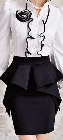 MULTI RUFFLE LAYER PEPLUM SKIRT - BLACK | shopstylemob