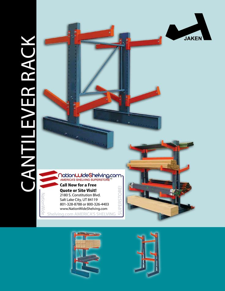 Cantilever Rack Salt Lake City, Utah | 801-328-8788 | NationWide Shelving http://www.nationwideshelving.com/cantilever-rack-salt-lake-city-utah.php  HEAVY DUTY CANTILEVER RACK This heavy duty cantilever rack is ideal for storing tubes, bar stock or other long materials. #CantileverRackSaltLakeCityUtah, #JakenCantileverRack, #JakenCantileverRackSaltLakeCityUtah, #CantileverRacking, #LumberRacking, #PipeRacking, #HeavyDutyCantileverRack