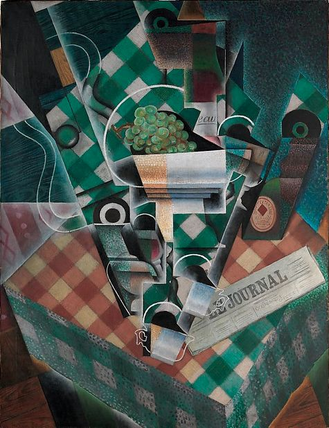 Painting by Juan Gris (1887-1927), 1915, Still Life with Checked Tablecloth, Paris, Oil and graphite on canvas. #Cubism