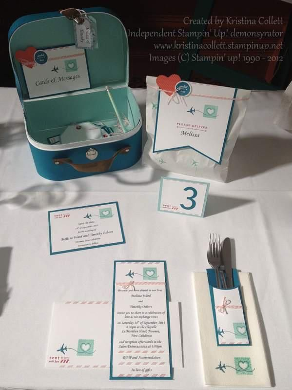 """""""Sent with love"""" for a destination wedding. Includes save the date card, invitation with 3 layers and matching stamped envelope, table number, cutlery pocket, stamped napkin, favour bag and travel case to hold cards and messages.  Available from Paper Pineapple www.facebook.com/Paperpineapple"""
