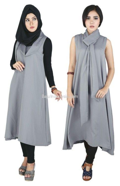 Baju muslim wanita RND 17-144 cotton abu-abu L-XL. Rp...