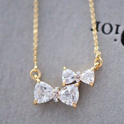 Cute Two Bowknot Rhinestone Pendant Necklace for only $15.90 ,cheap Fashion Necklaces - Jewelry&Accessories online shopping,Cute Two Bowknot Rhinestone Pendant Necklace is the best assistant to help you to advance your taste. Two bow design add special element to this necklace.