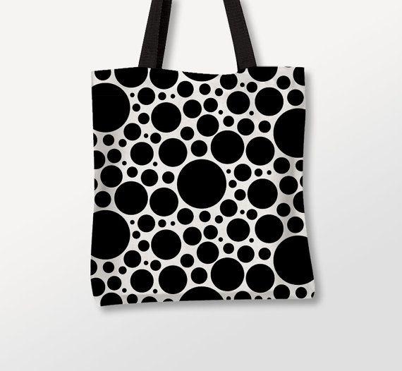 Bubbles Tote Bag, Circles Art, Graphic Bag, Photo Bag, Black Dots, Beach Bag