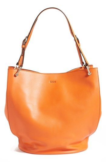 $1,425, Orange Leather Tote Bag: Tod's Secchiello Leather Tote Orange. Sold by Nordstrom.