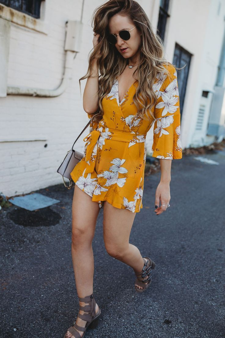98459a8200 Spring floral yellow romper outfit styled with chunky heeled sandals and  Chloe dupe bag  floralromper  springoutfit  yellowromper