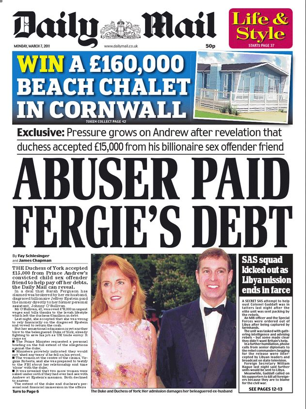 Daily Mail - Monday, 7 March 2011 Fergie & Andrew