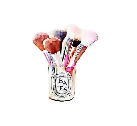 Diptyque Candle Makeup Brush Holder Print from Watercolor Painting Fashion Illustration Poster