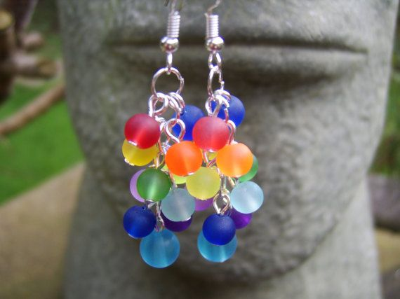 Rainbow Earrings. Multi Coloured Earrings. Frosted Glass Bead