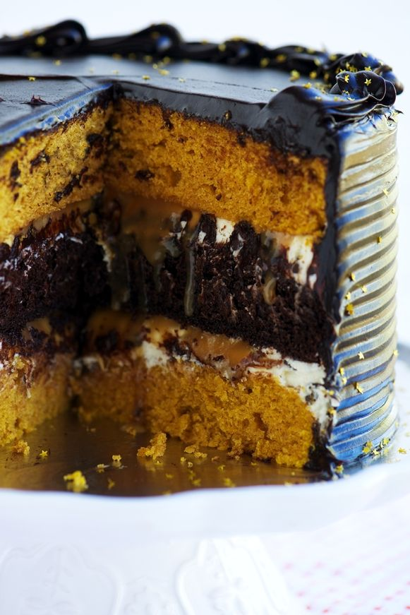 Midnight Pumpkin Layer Cake with salted caramel, chocolate chip cream cheese filling and dark chocolate frosting