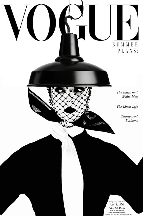 Vogue April 1, 1950 featuring hook pendant lamp from FAB