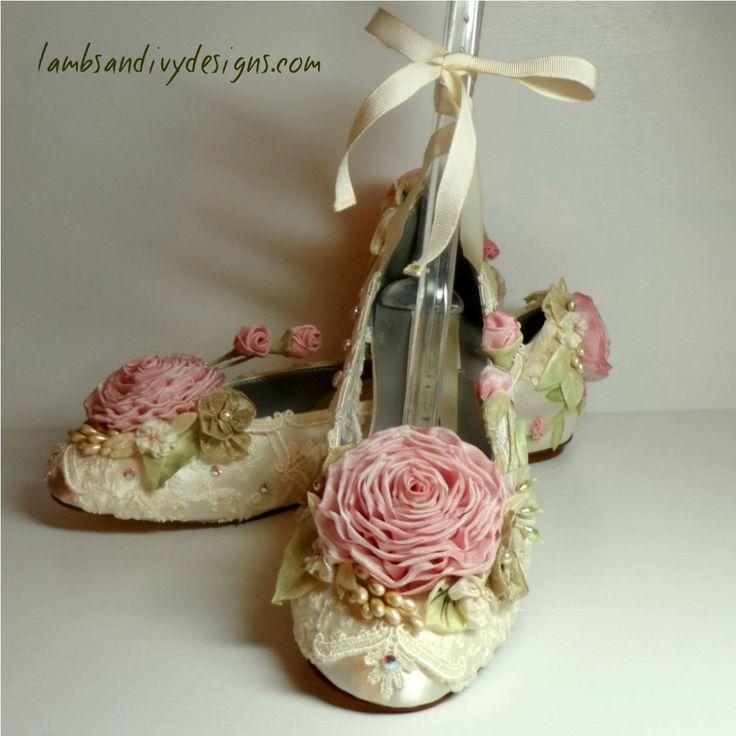 pink Wedding Ballet Slippers   Roses Bride's Princess Ballet Slippers Weddings Pink Roses Flower Girl ...