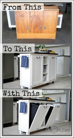 How to make your own kitchen island with hidden garbage storage. Genius! by bbooky