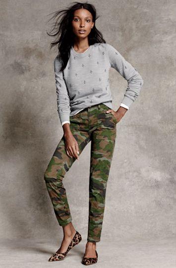 J Crew - grey jewel sweatshirt, camo pants, leopard print flats