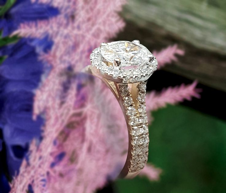 Linara Classic Round Halo Split Pave Shank Engagement Ring in 18K Yellow Gold