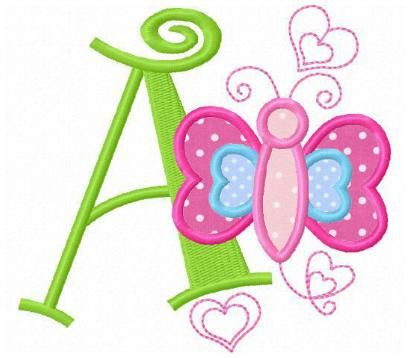 set of 26 butterfly love applique font letters machine embroidery designs