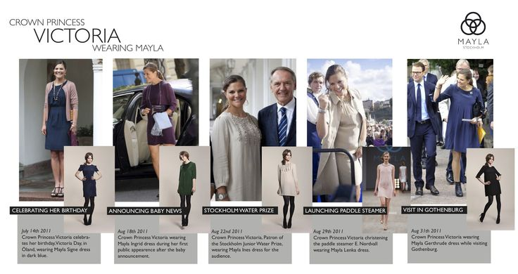 Crown Princess Victoria wearing MAYLA dresses as seen in the press
