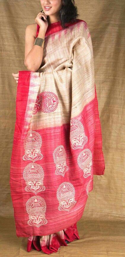 Handpainted aanchal on Gicha silk saree