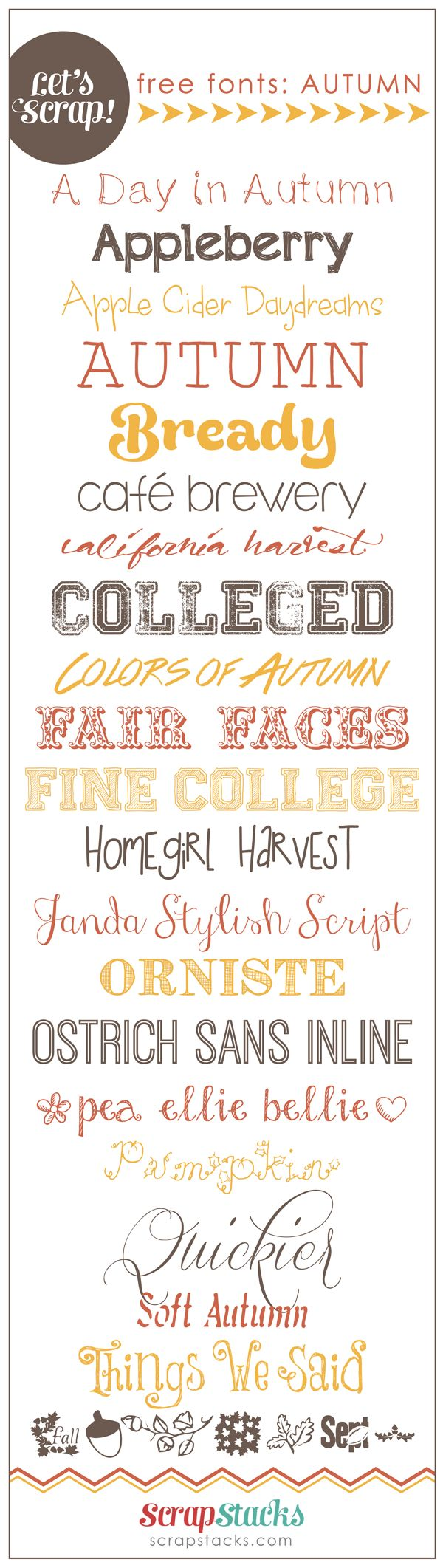 free autumn fonts for scrapbooking from Scrap Stacks