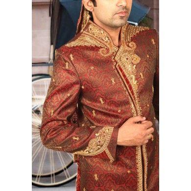 Magnificent Maroon #Men's Wear #Sherwani. Buy online at www.ethnickurtas.com