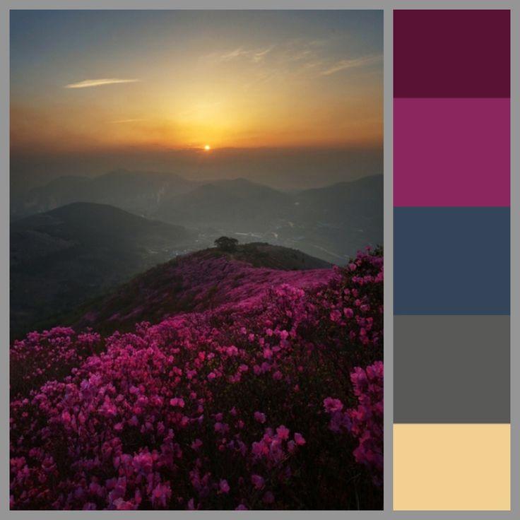 Color scheme Sunset Deep Tranquil Summer/Fall... now a pop of a deep orange or a dark pink