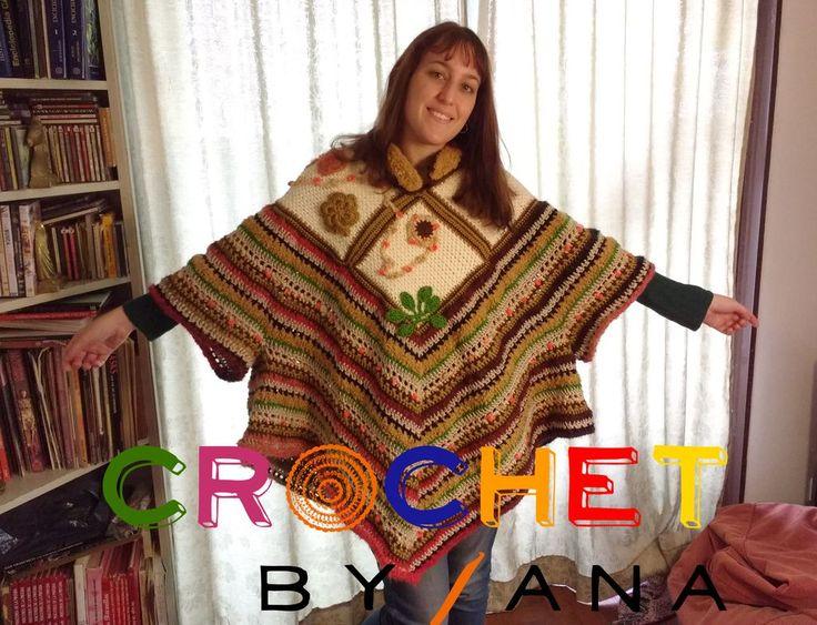 """Poncho Crochet by Ana """"Tierra"""" en shetland y fantasías varias con detalles de flores, colores tierra. Pieza única!"""