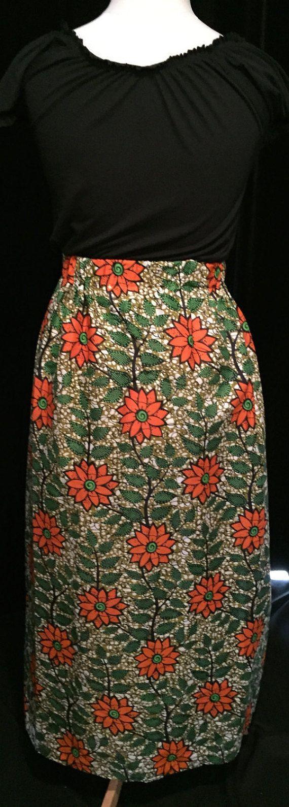 Orange Flower Maxi Skirt - African Wax Print - Medium/Large