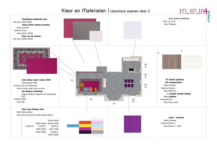 2.4 Kleur & Materialen - De muur met canvas foto's is fuchsia gekleurd dit zorgt samen met het glitter behang en de Magnolia gekleurde schouw voor een eigentijdse moderne uitstraling