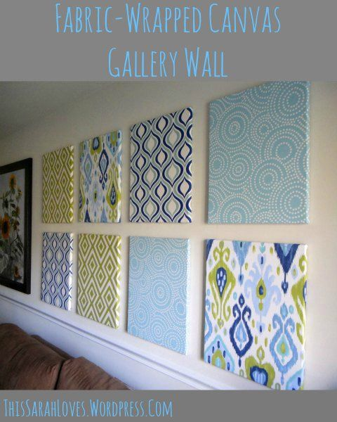 Fabric Wrapped Canvas Wall Panels - way to cover large wall without painting