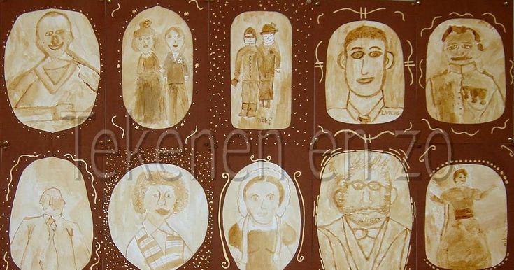 Door leerlingen van groep 8  Met oploskoffie kun je mooie sepia portretten schilderen! Vraag de leerlingen een foto van vroeger mee te nemen...