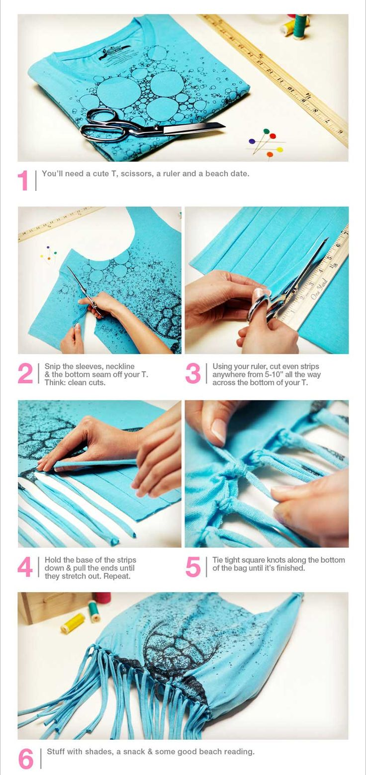 Beach tote: CUTE way to recycle a t-shirt that's too small, stretched out, etc.  You'll need a cute tee, scissors, a ruler, and a beach date =)