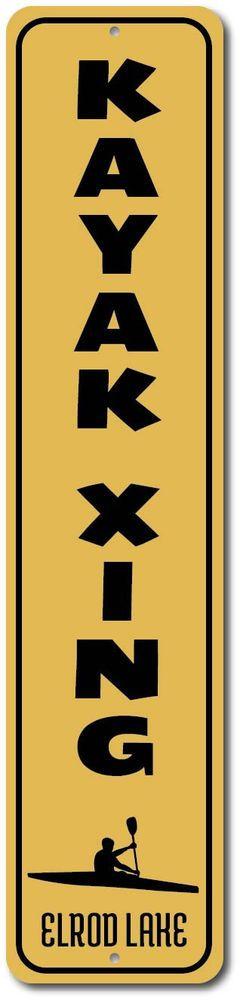 Kayak Xing Vertical Sign, Personalized Lake Location Name Decor, ENSA1002295