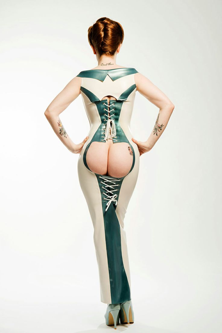 New! Rear View of our PEACHIE Bum-Out Long Gown with Integral Corset. Model: Alex Sim-Wise. Photograph © Ester Segarra. Shoes: Natacha Marro. PEACHIE is an Exclusive House of Harlot Design By Robin Archer.