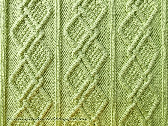 Moss Diamonds Cabled Blanket Pattern